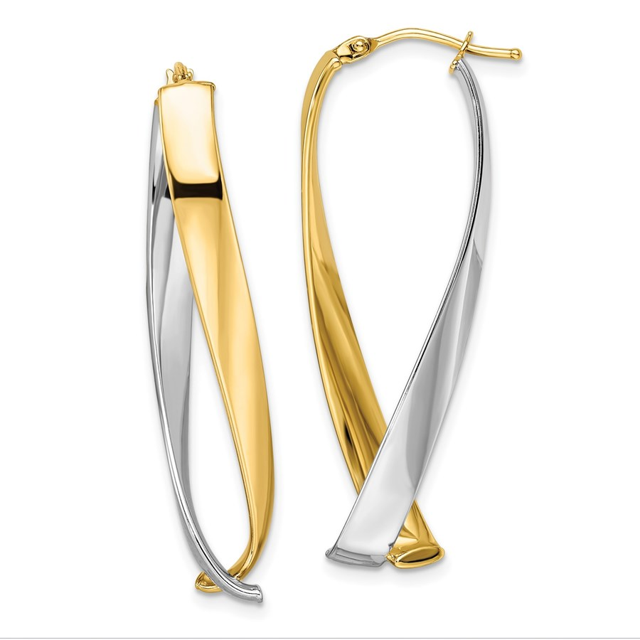 14K Two-tone Polished Twisted Hoop Earrings - 43 mm