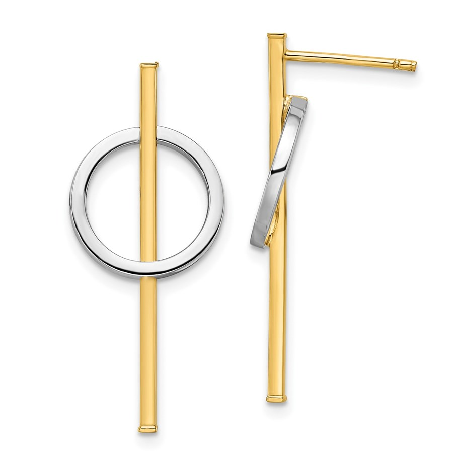 14K Two-tone Post Dangle Earrings - 31.68 mm