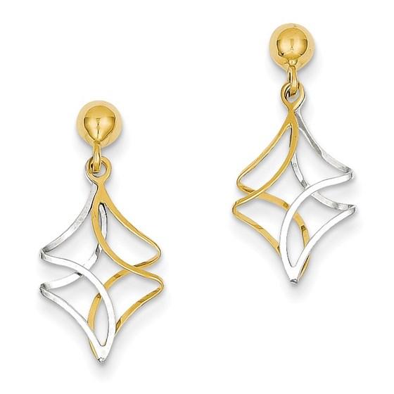 14k Two-tone Post Dangle Earrings
