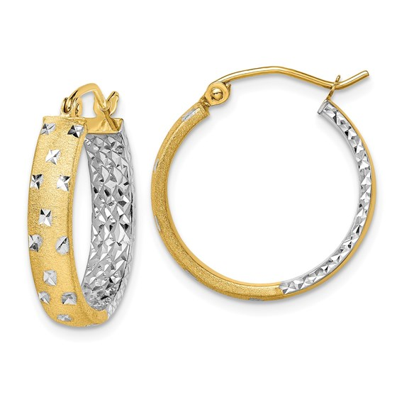 14k Two-tone Rhodium Satin & Polished & Diamond-cut Hoop Earrings