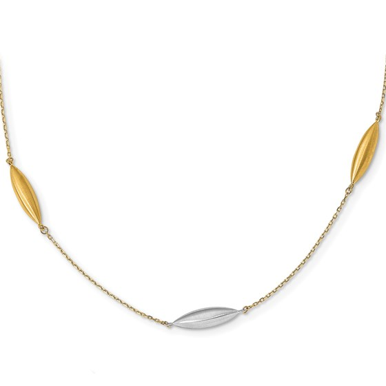 14K Two-tone Scratch Finish w/ 1in ext Necklace - 18 in.