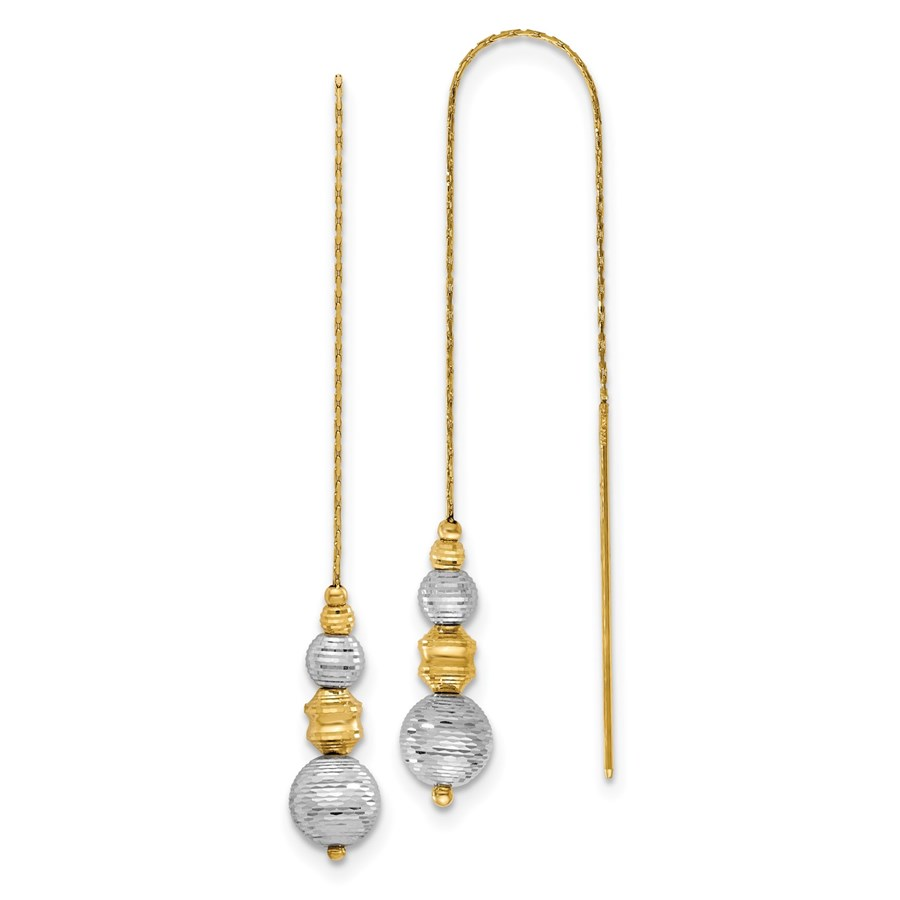 14K Two-tone Textured Beads Threader Earrings - 130 mm