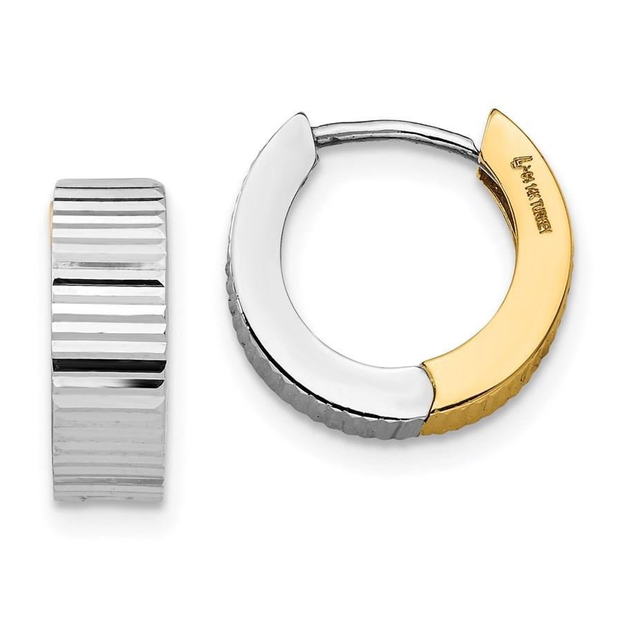 14K Two-tone Textured Reversible Hinged Earrings - 12.44 mm