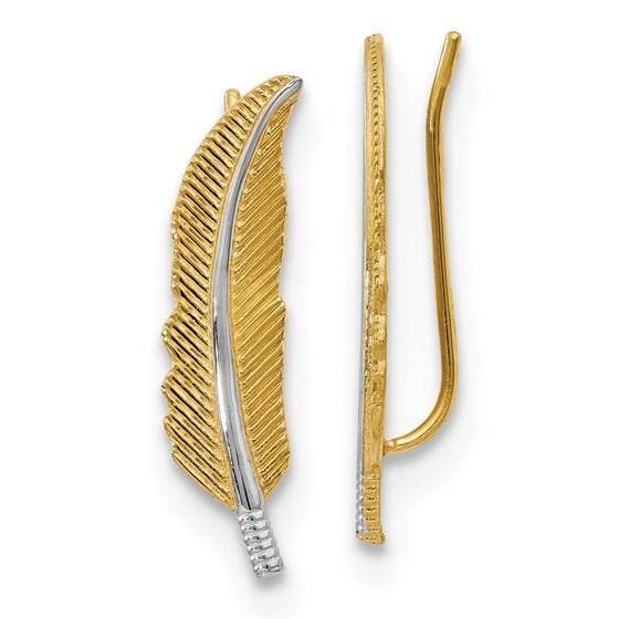 14K w/Rhodium Polished Feather Ear Climber Earrings - 22 mm