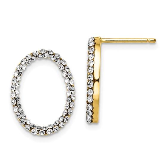 14K w/ Swarovski Crystals Post Dangle Earrings - 17.5 mm
