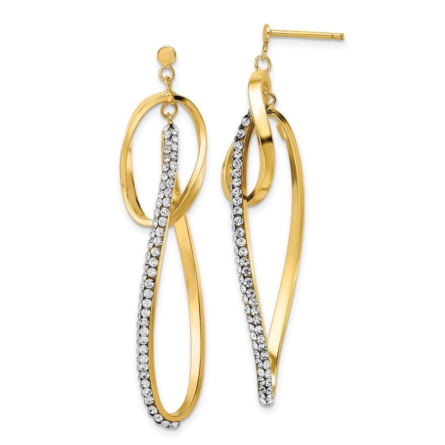 14K w/ Swarovski Crystals Post Dangle Earrings - 52 mm