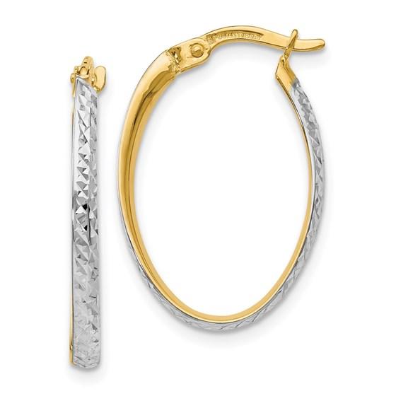 14K w/White Rhodium D/C Oval Hoop Earrings - 23 mm