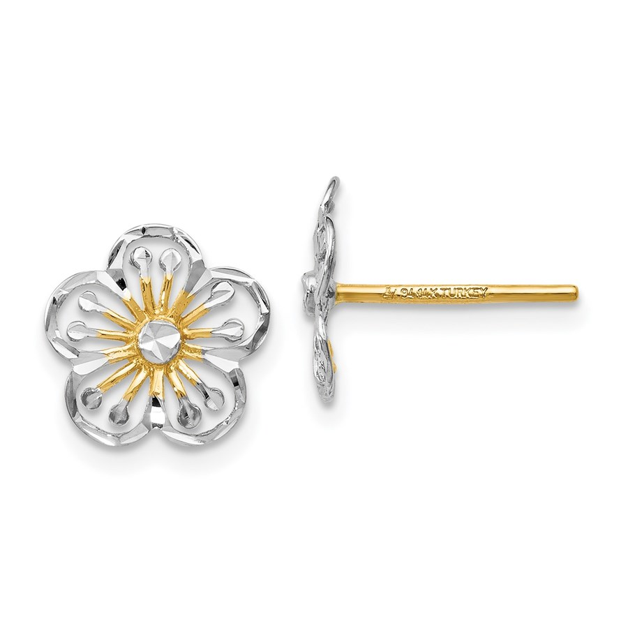 14K w/White Rhodium Polished and D/C Post Earrings - 10 mm