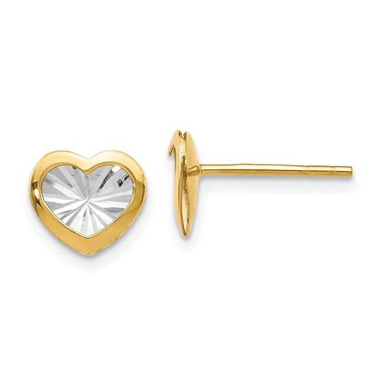 14K w/White Rhodium Polished & D/C Heart Post Earrings - 8 mm