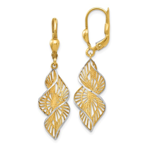 14K w/White Rhodium Textured and D/C Leverback Earrings - 40 mm