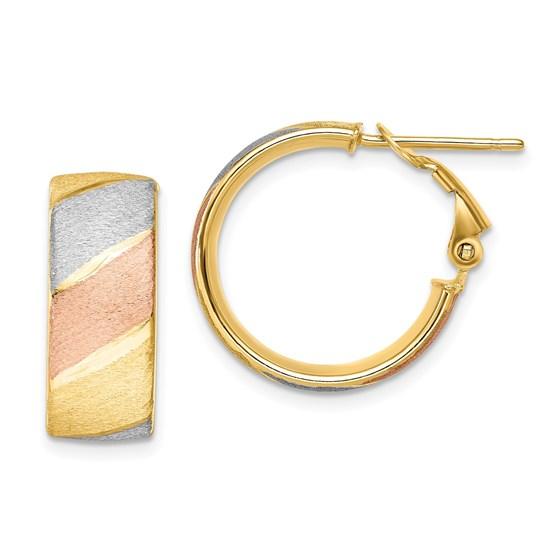 14K w/ W&R-plated Brushed Hoop Earrings - 13.25 mm