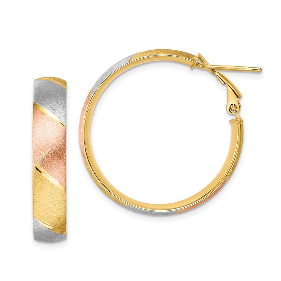 14K w/ W&R-plated Brushed Hoop Earrings - 29.5 mm