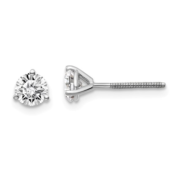 14k WG 3/4 ct Lab Grown Diamond 3-Prong Earring (Post/Screw back)
