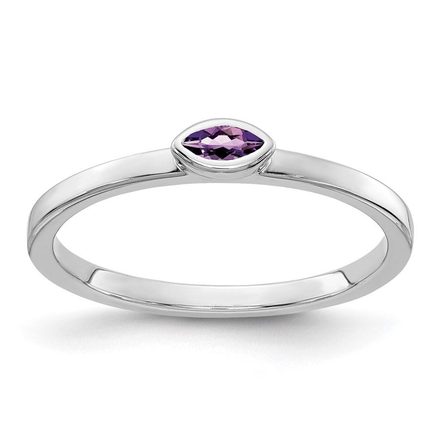 14K WG White Gold Bezel-set Marquise Amethyst Ring