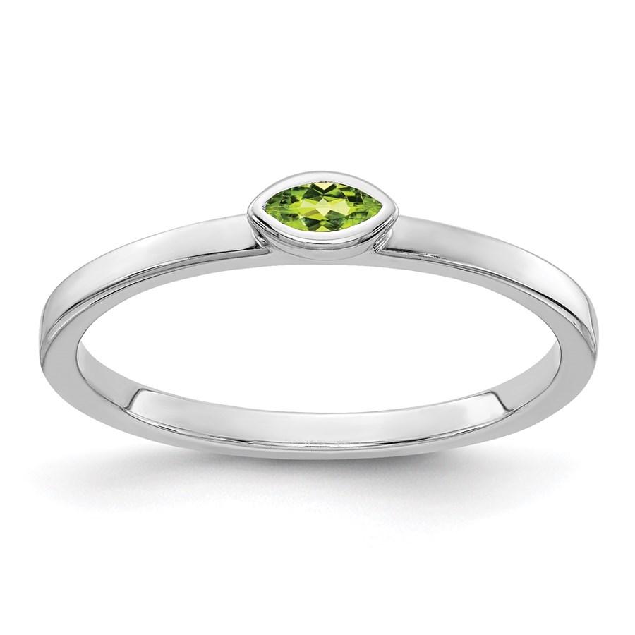 14K WG White Gold Bezel-set Marquise Peridot Ring