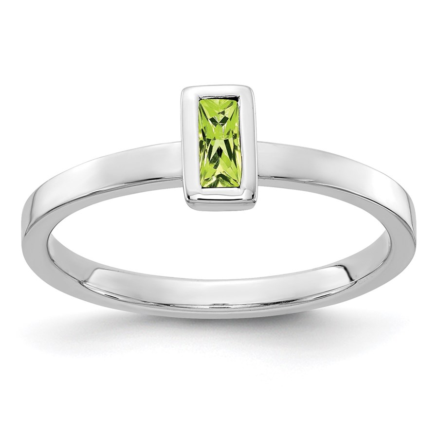 14K WG White Gold Bezel-set Peridot Ring