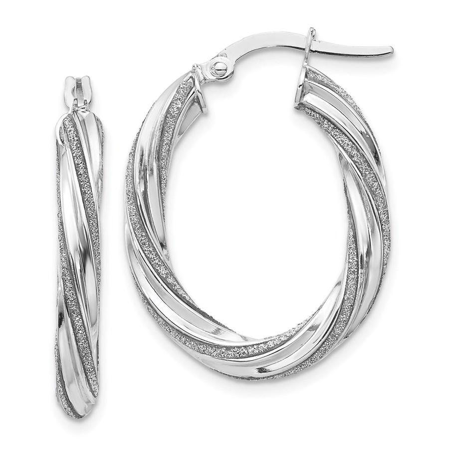 14K White Glimmer Infused Oval Hoop Earrings - 28 mm