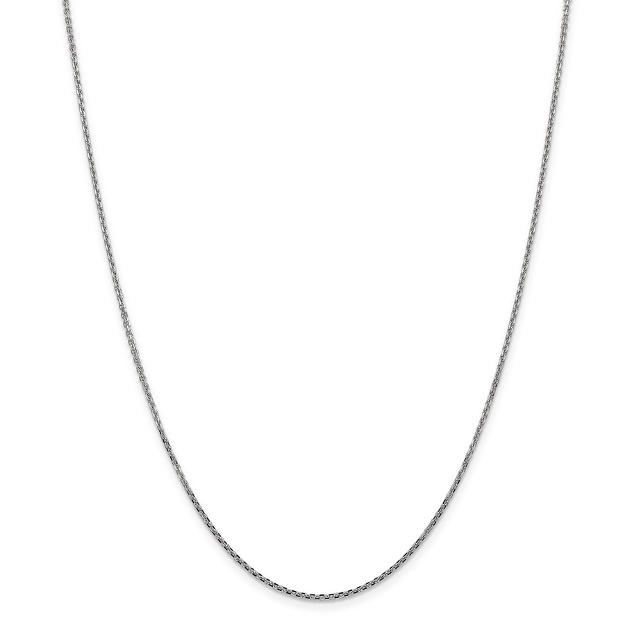 14k White Gold 1.3 mm Solid Diamond Cut Cable Chain - 20 in.