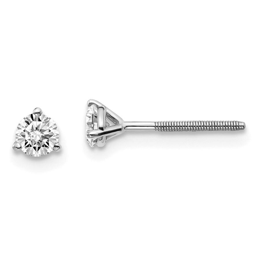 14k White Gold 1/3ct Cert. Lab Grown Diamond 3-Prong Earring