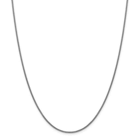 14k White Gold 1.5 mm Hollow Round Box Chain Necklace - 18 in.