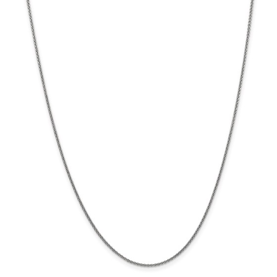 14k White Gold 1.5 mm Solid Polished Cable Chain Necklace - 24 in