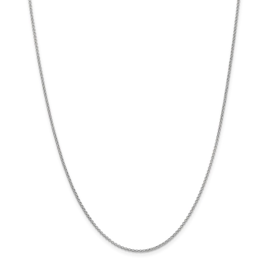 14k White Gold 1.55 mm Rolo Pendant Chain Necklace - 18 in.