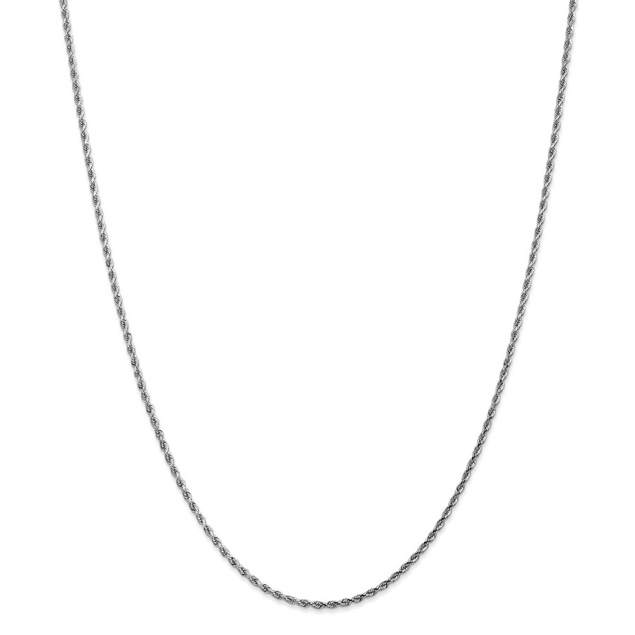 14k White Gold 1.75 mm Diamond Cut Rope Chain - 26 in.