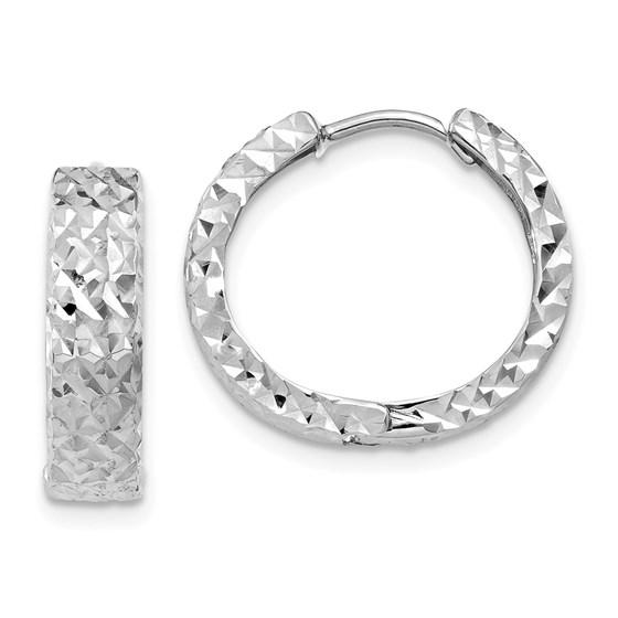 14k White Gold 12 mm Diamond-cut Hoop Earrings
