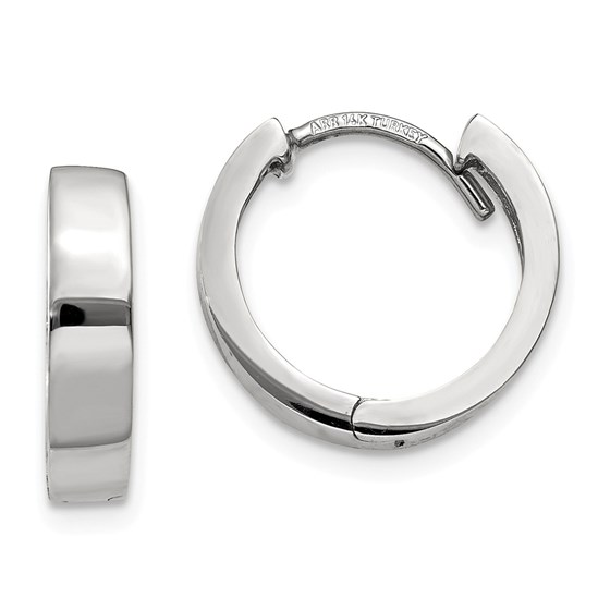 14k White Gold 13 mm Hinged Hoop Earrings