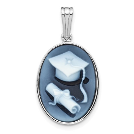 14k White Gold 13x18 mm Graduation Cap & Diploma Agate Cameo Pend