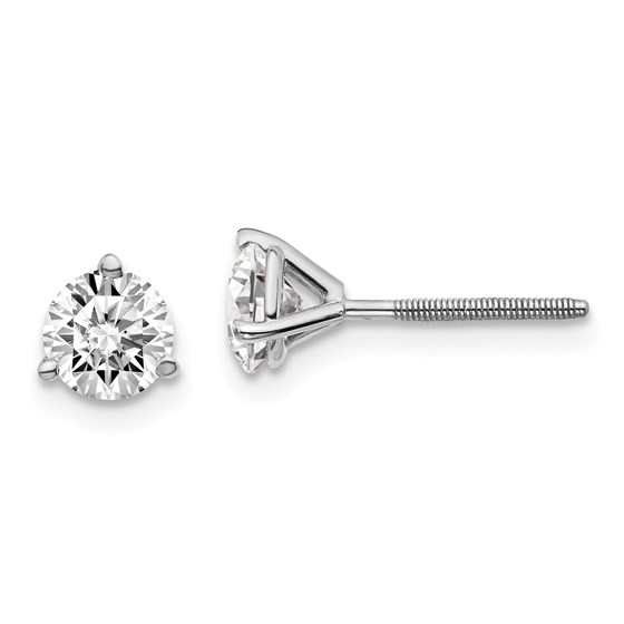 14k White Gold 1ct Cert. Lab Grown Diamond 3-Prong Earring