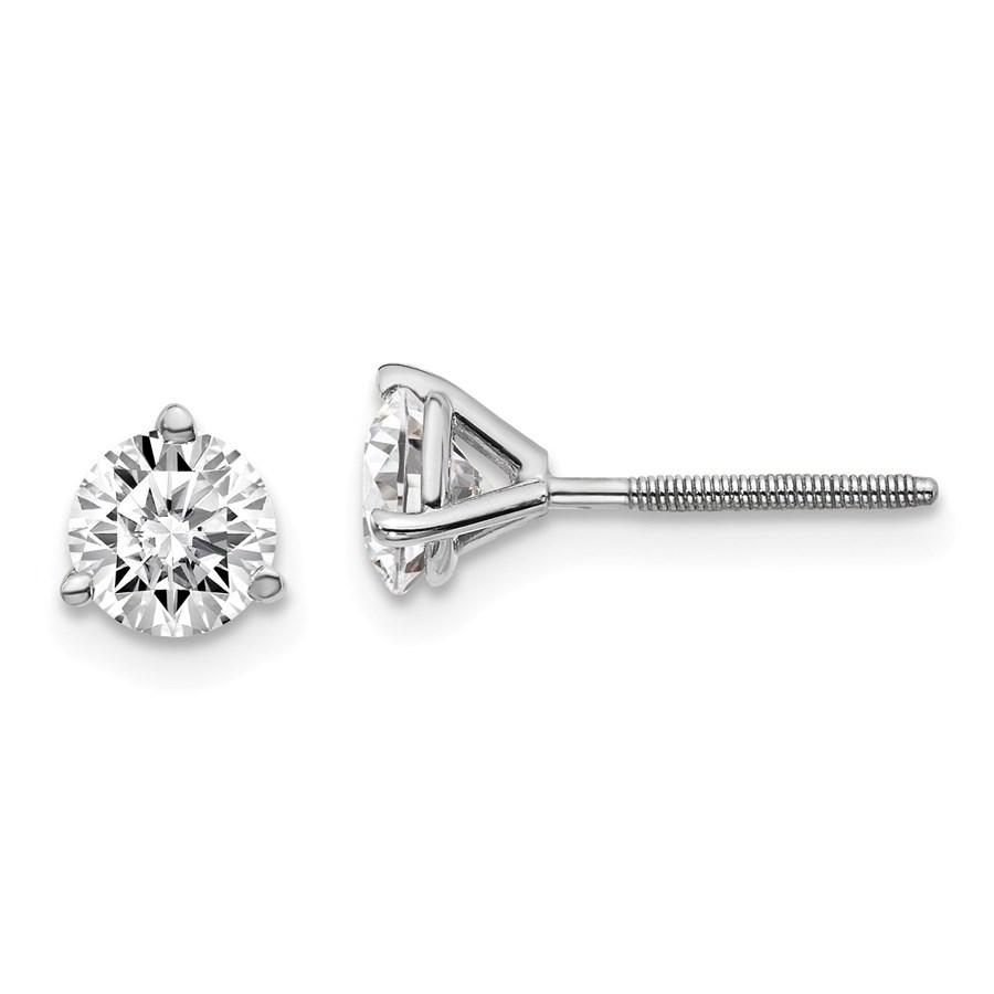 14k White Gold 1ct Lab Grown Diamond 3-Prong Earring