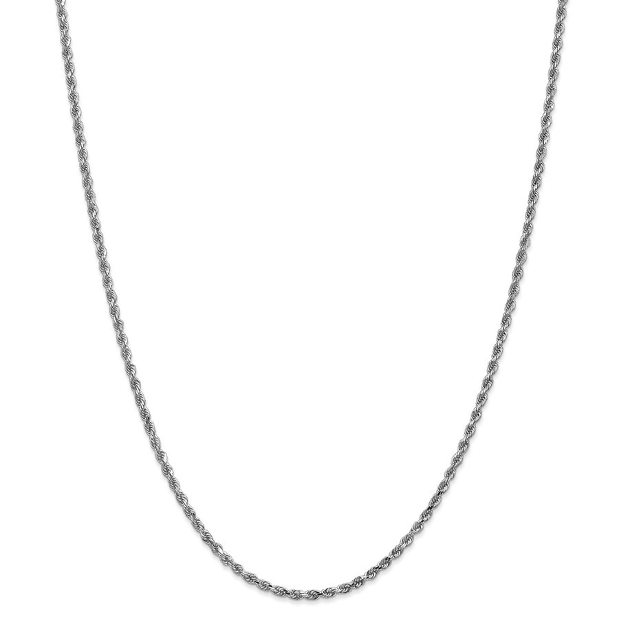 14k White Gold 2.25 mm Diamond Cut Rope Chain - 26 in.