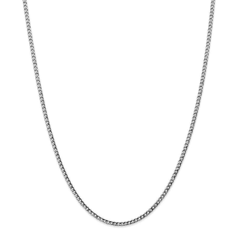 14k White Gold 2.5 mm Semi-Solid Curb Link Chain Necklace - 24 in
