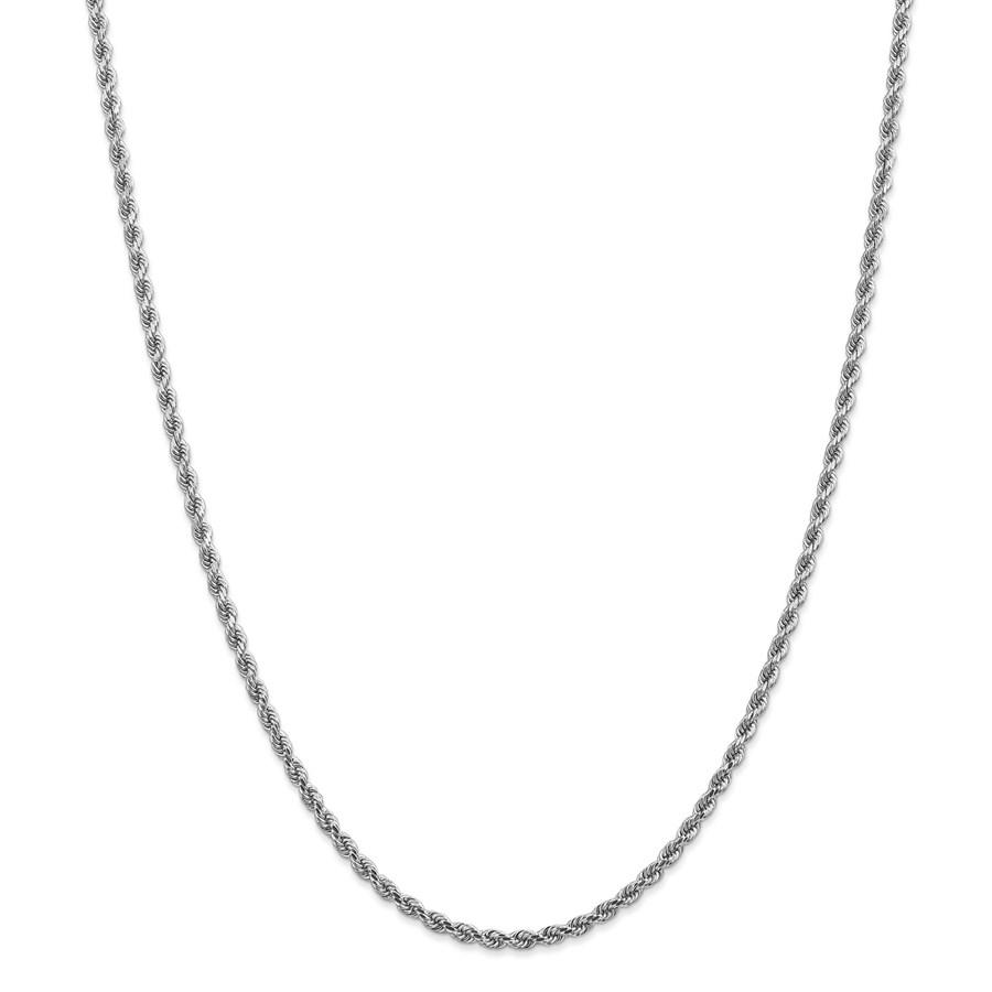 14k White Gold 2.75 mm Diamond Cut Rope Chain - 26 in.