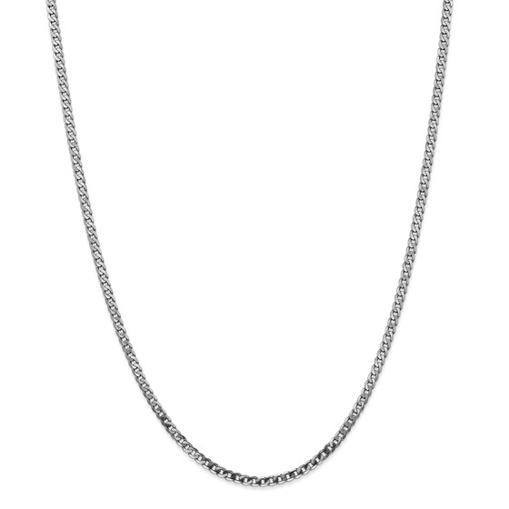 14k White Gold 2.9 mm Flat Curb Chain Necklace - 24 in.