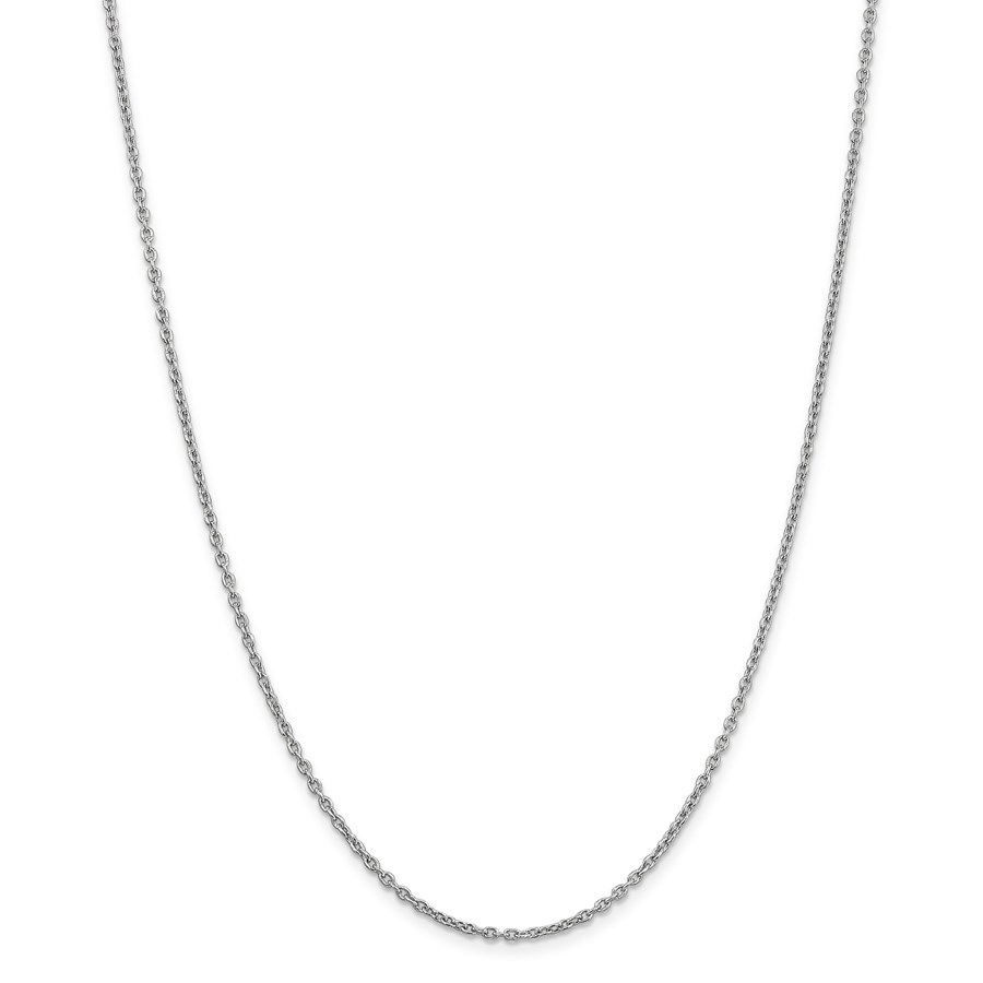 14k White Gold 2 mm Cable Chain Necklace - 18 in.