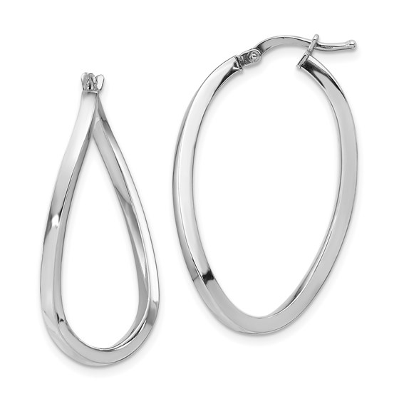 14K White Gold 2mm Polished Twisted Oval Hoop Earrings - 36.6 mm