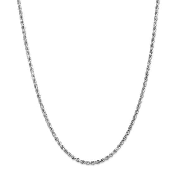 14k White Gold 3.0 mm Diamond Cut Rope Chain - 28 in.