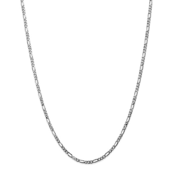14k White Gold 3.0 mm Flat Figaro Chain - 22 in.