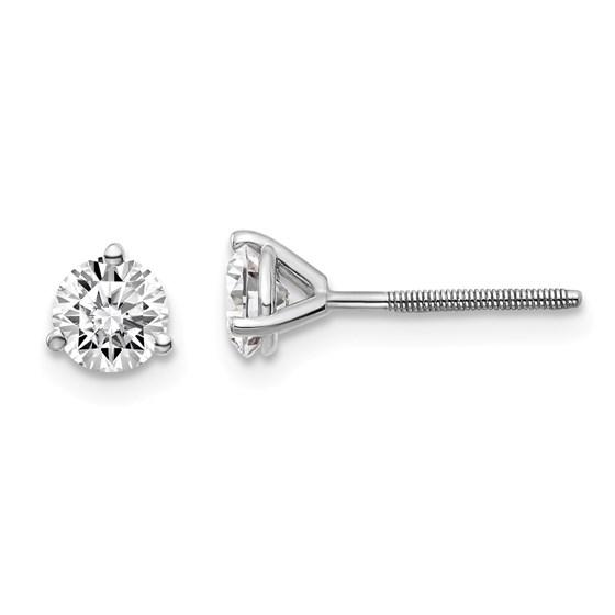 14k White Gold 3/4ct Lab Grown Diamond 3-Prong Earring