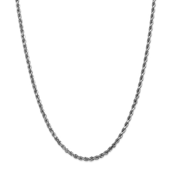 14k White Gold 3.5 mm Diamond Cut Rope Chain - 28 in.