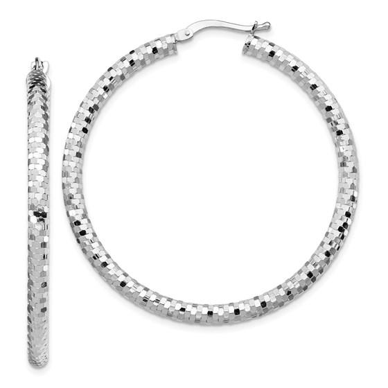 14k White Gold 3x35mm Diamond-cut Hoop Earrings - 45 mm