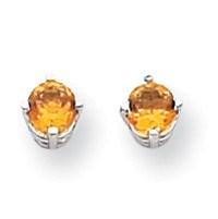 14k White Gold 4 mm Citrine Earrings