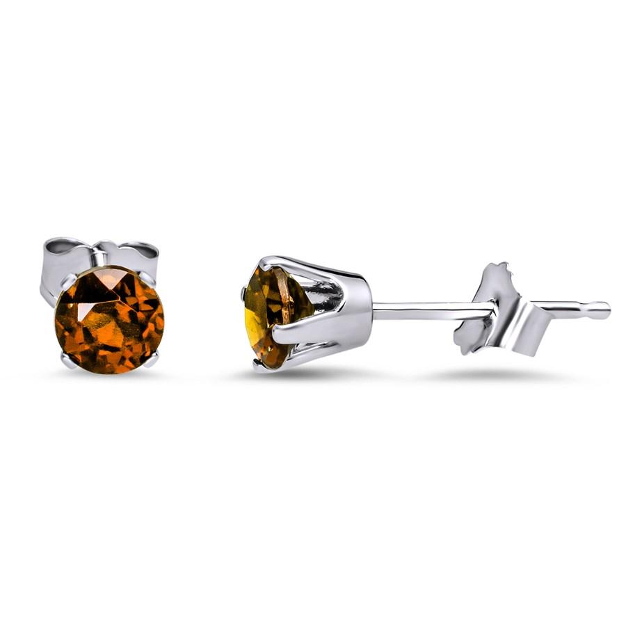 14k White Gold 4 mm Garnet Stud Earrings