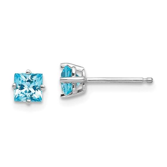 14k White Gold 4 mm Princess Cut Blue Topaz Earrings