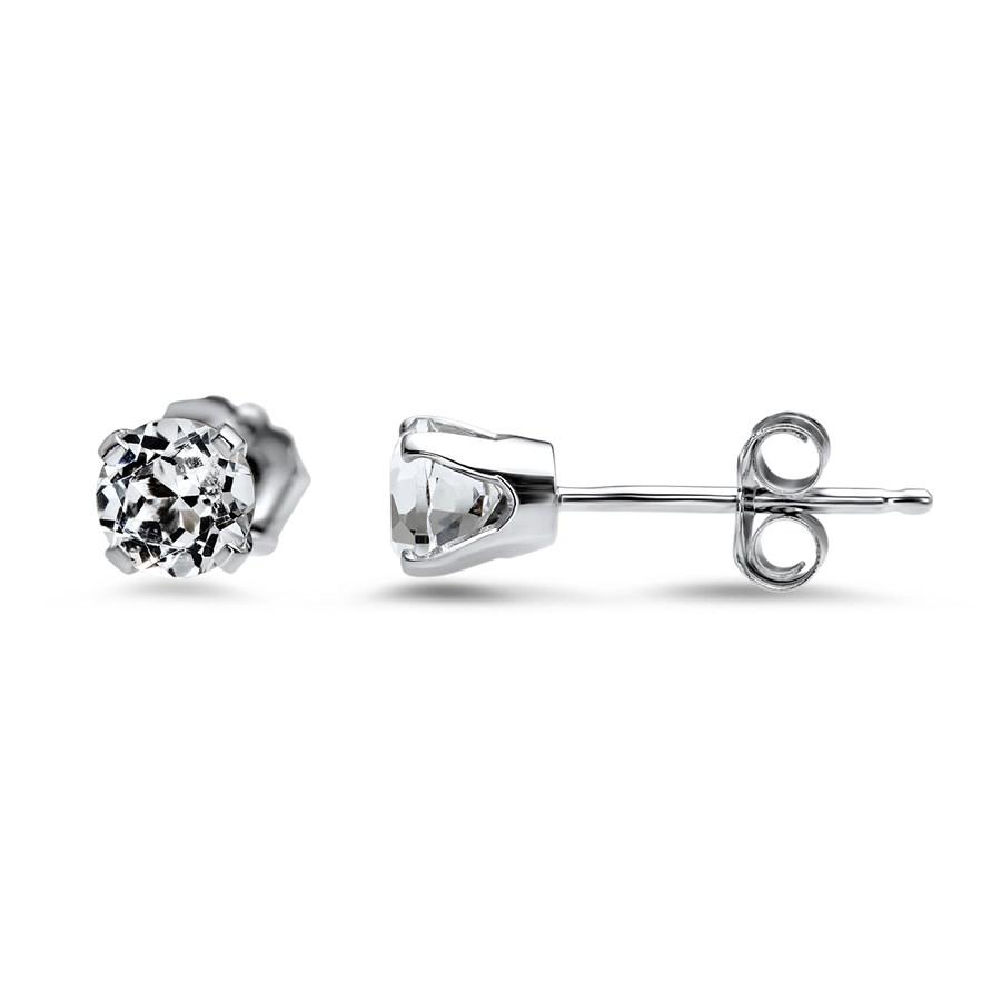 14k White Gold 4 mm White Topaz Stud Earrings
