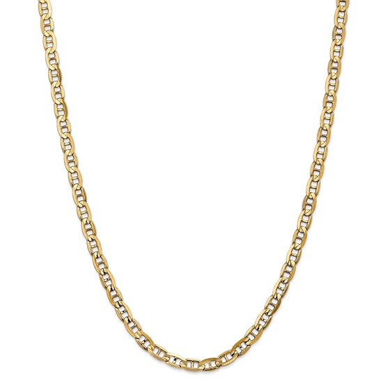 14k White Gold 5.25 mm Concave Anchor Chain - 24 in.