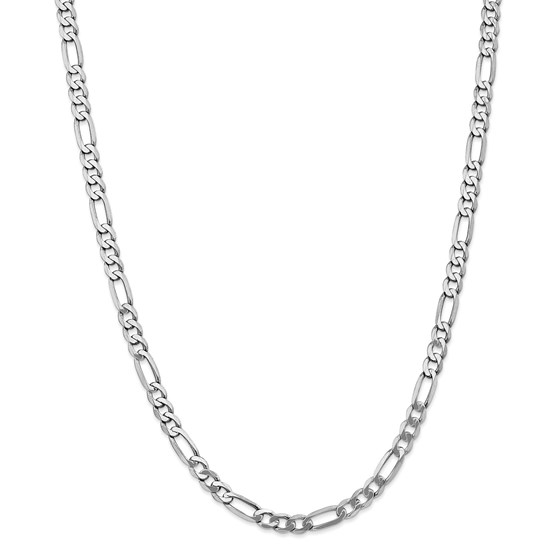 14k White Gold 5.5 mm Flat Figaro Chain - 26 in.