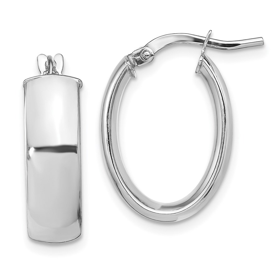 14K White Gold 5.75mm Polished Oval Hoop Earrings - 19.6 mm